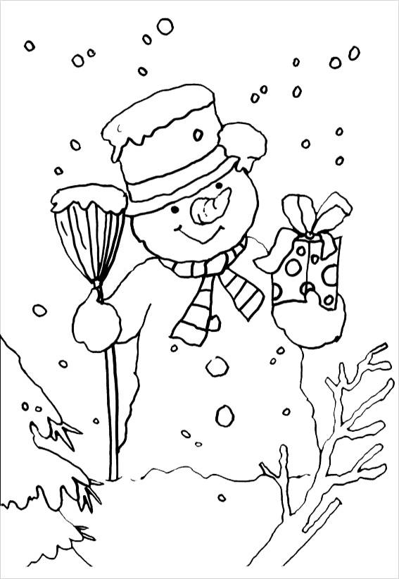 Christmas coloring pages snowman